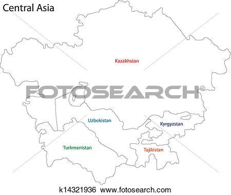 Clip Art of Outline Central Asia k14321936.