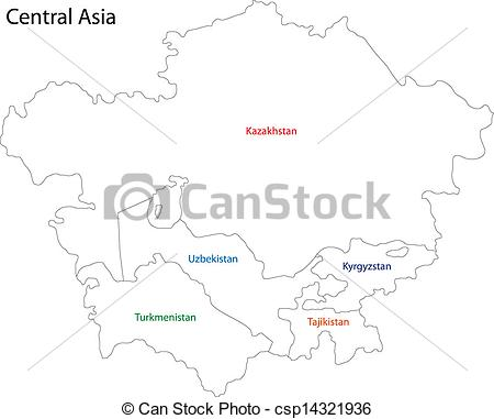 Vectors of Outline Central Asia.