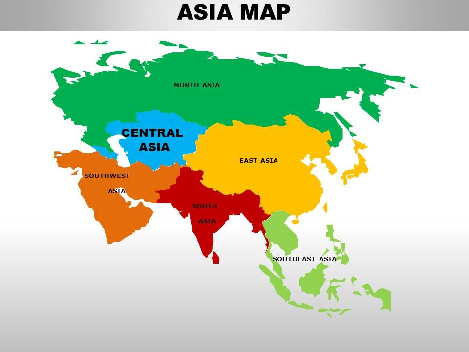 Central Asia Continents PowerPoint maps.