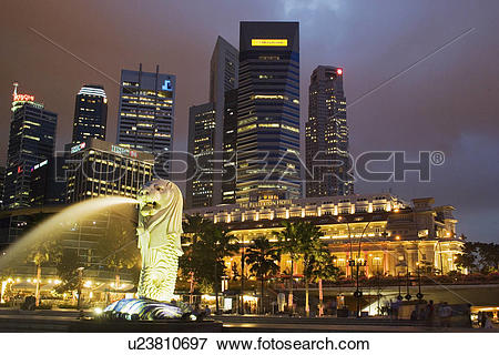 Picture of CBD Central Business District Fullerton Hotel Merlion.