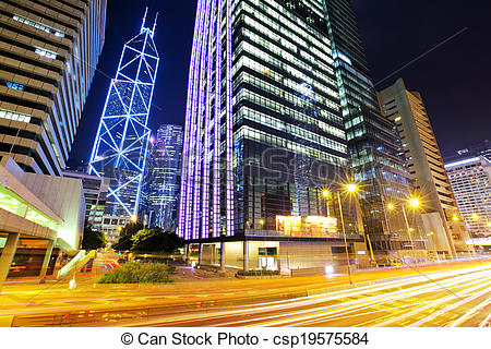 Pictures of Central business district in Hong Kong with traffic.