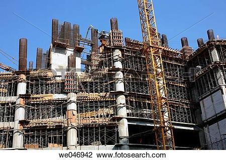 Stock Photo of Big construction site of a new mega mall in the.