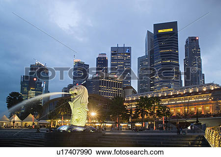 Stock Photography of CBD Central Business District Fullerton Hotel.