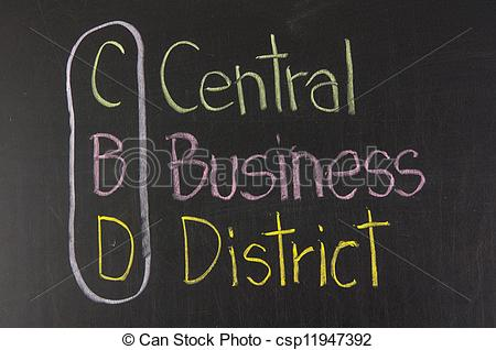 Stock Photographs of CBD acronym Central Business District.