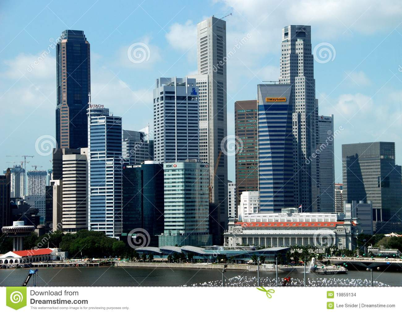 Singapore: Central Business District Skyline Editorial Stock Image.