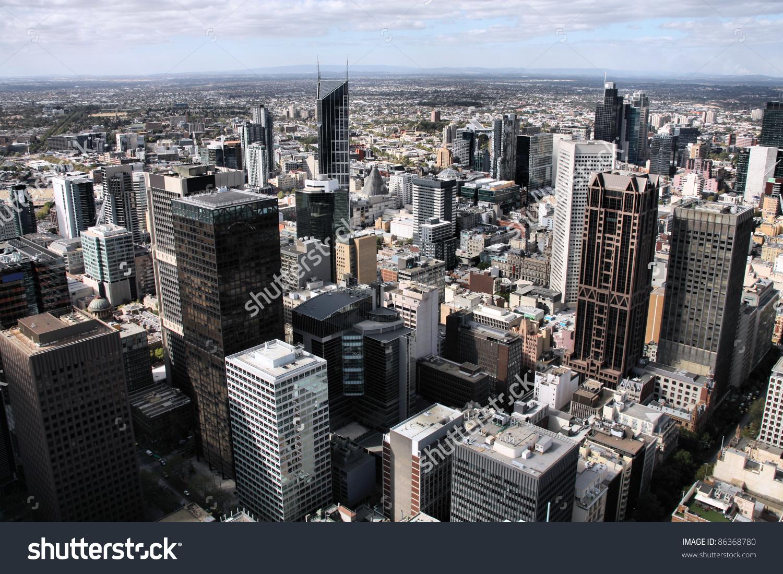 Melbourne Australia Aerial View Skyscraper City Stock Photo.