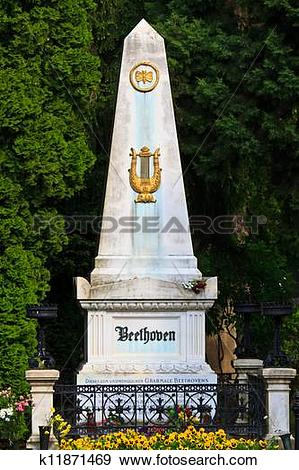 Stock Photograph of Beethoven Grave at Vienna Central Cemetery.