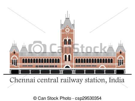 Clipart Vector of Chennai central train station.