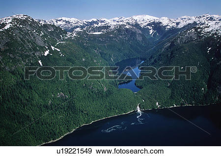 Stock Photograph of aerial of Kynoch Inlet showing falls and.