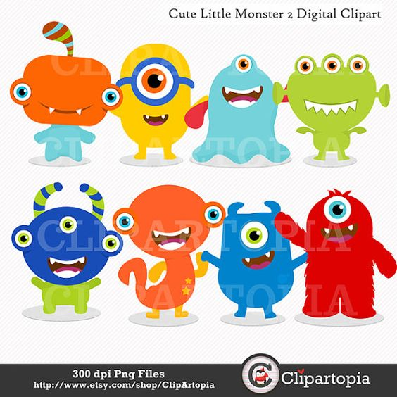 Cute little Monster 2 Digital Clipart / Monsters Party for.