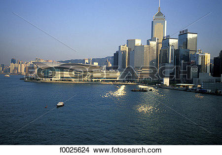 Stock Photo of China, Hong Kong, aerial view of Central District.