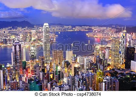 Stock Photo of Hong Kong central district skyline and Victoria.