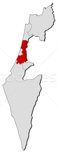 Map of Israel, Central District highlighted vector illustration.