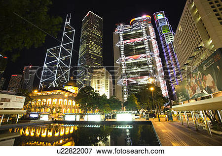 Picture of Statue Square at night in Central District, Hong Kong.