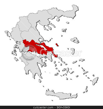 Map of Greece, Central Greece highlighted stock vector.