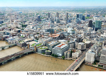Stock Photography of Central London buildings viewed from above.