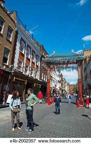 Picture of Gerrard street Chinatown central London England Britain.