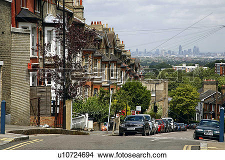 Stock Photo of England, London, Crystal Palace. View down Woodland.