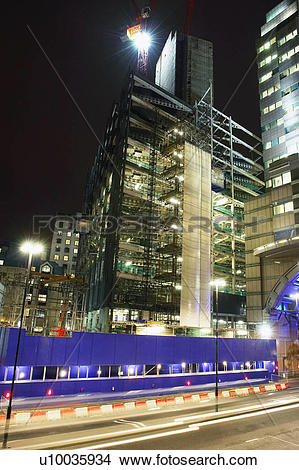 Stock Photo of Construction site at night, Central London, UK.