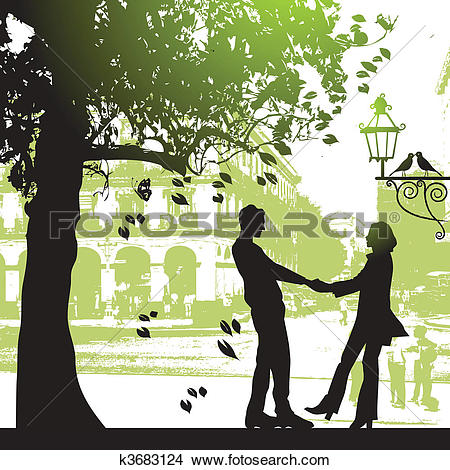 Clipart of Couple under the tree in city park k3683124.