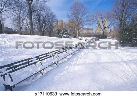 Stock Photo of 'Park benches with snow in Central Park, Manhattan.