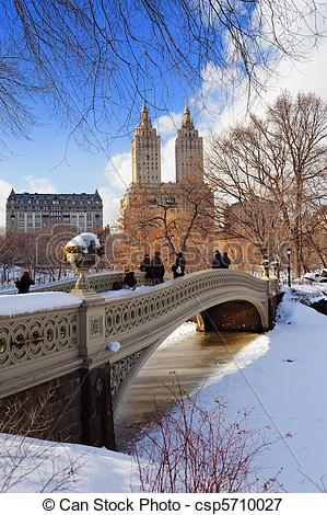 Picture of New York City Manhattan Central Park panorama in winter.