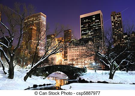 Picture of New York City Manhattan Central Park panorama at dusk.