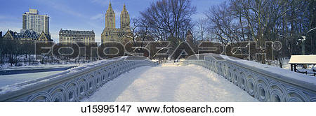 Picture of Panoramic view of bridge over frozen pond in Central.