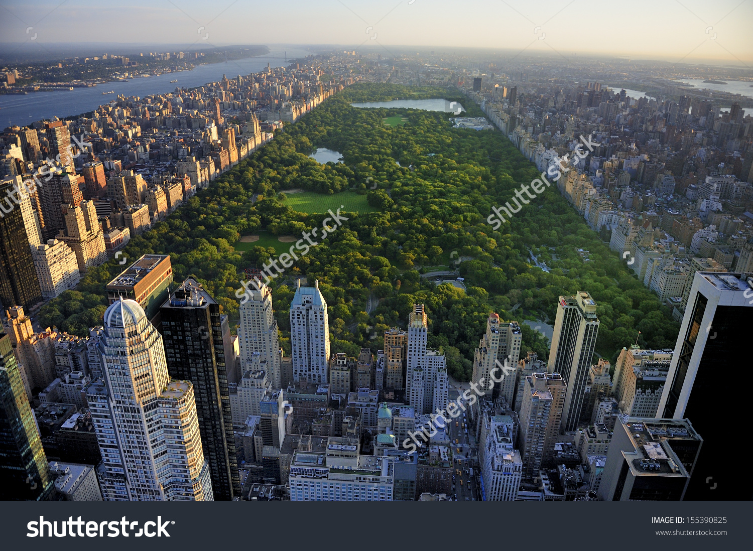 Central Park Aerial View Manhattan New Stock Photo 155390825.