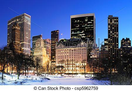Stock Photographs of New York City Manhattan Central Park panorama.