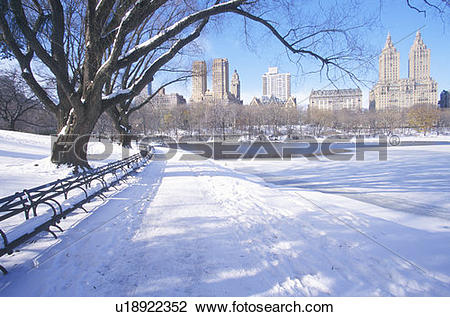 Stock Photo of Park benches with snow in Central Park, Manhattan.