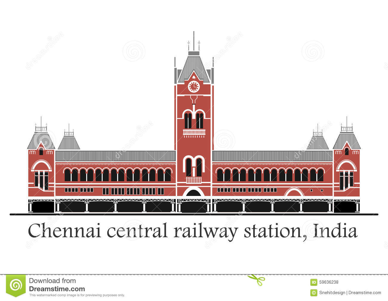 Chennai Central Train Station Stock Illustration.