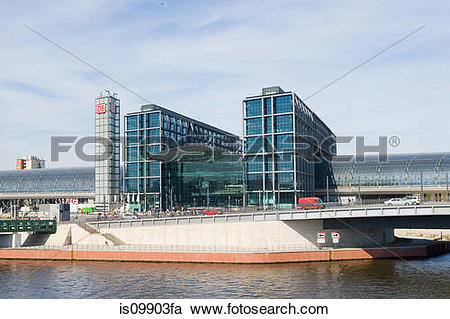 Stock Photography of River Spree and new Central Railway station.