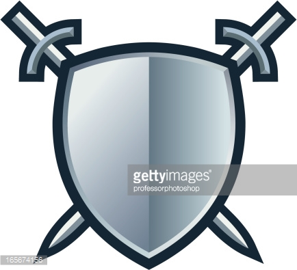 Crossed Swords And Shield Icon With Blue Central Text Space Vector.