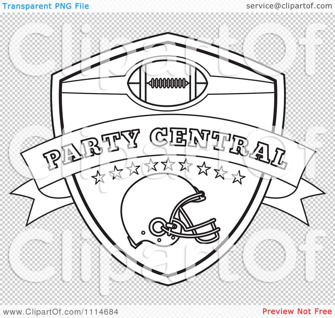 Clipart Outlined American Football Sports Helmet And Shield With.