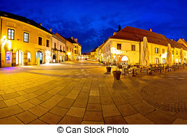 Stock Image of Central square in Palmanova panoramic view, Friuli.