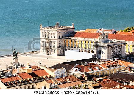 Pictures of Lisbon central square Praca de Comercio, Portugal.