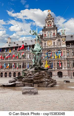 Stock Photo of Central square and Brabo statue in Antwerpen.