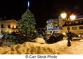 Stock Photography of Illuminated Central Square of Megeve on.
