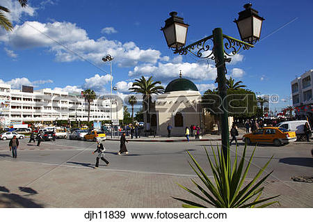 Stock Photograph of Africa, Tunisia, Sousse, Place Farhat Hached.