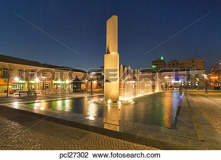Stock Photo of Portimao, Fountain In Central Square At Night.