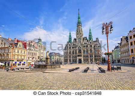 Drawing of The town hall and the central square in Liberec, Czech.
