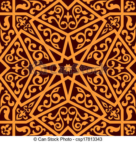 EPS Vector of Arabian seamless pattern with a central star.
