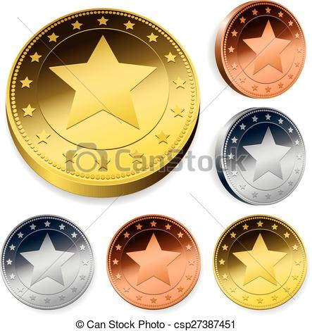 Clipart Vector of Coin Or Token Set With Star.