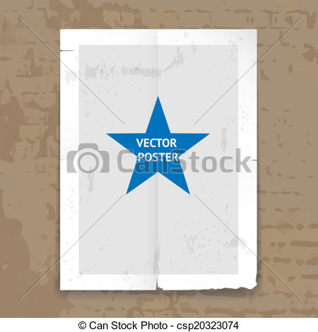 Vectors Illustration of Grunge tattered folded poster template.