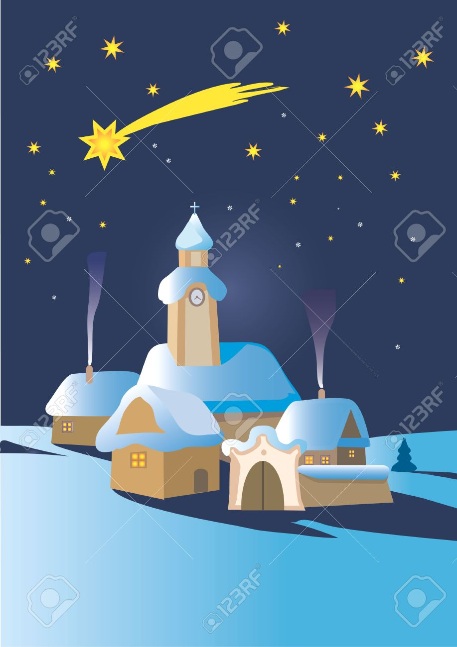 Christmas Winter Night Landscape In Central Europe With Bethlehem.