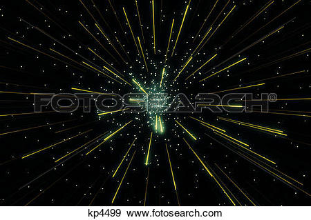 Stock Photograph of comet like lights radiating from central star.