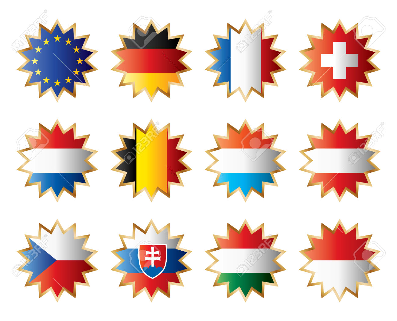 Star Flags Central Europe Separated Layers With Country Name