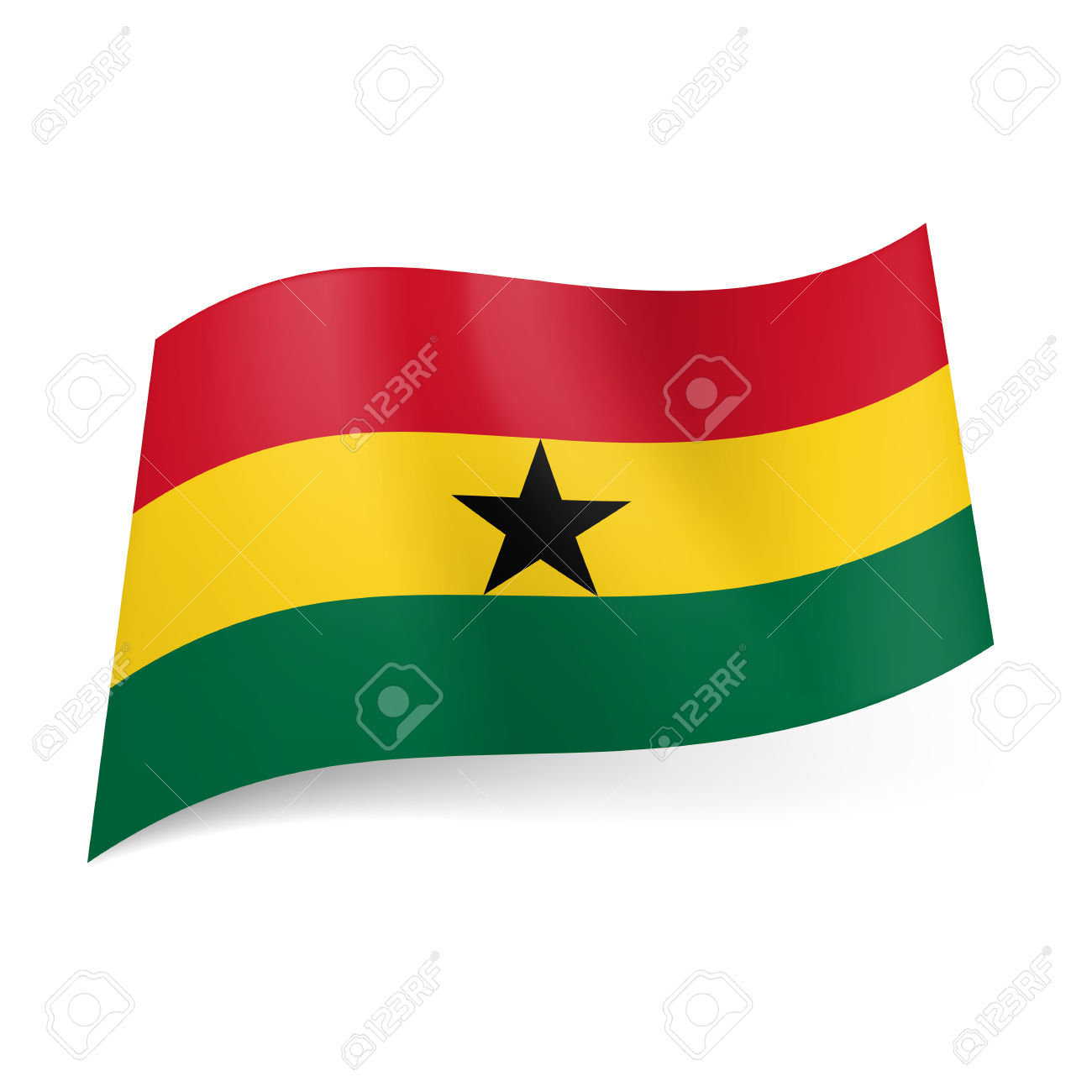 National Flag Of Ghana Red, Yellow And Green Horizontal Stripes.
