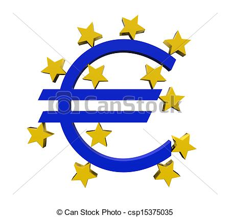 Drawings of European Central Bank Symbol isolated on white.